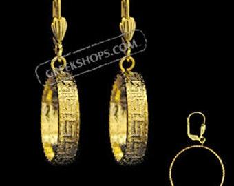 Gold Overlay Greek Key Earrings (clip-on OR post) 18mm