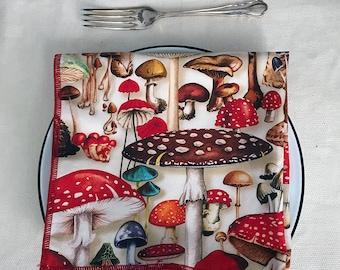 Mushroom Cloth Napkin with Red edging, Single, Nature, Foodie, Woodland, Cotton Sustainable, Farmhouse Decor Magic Alice, Digital print