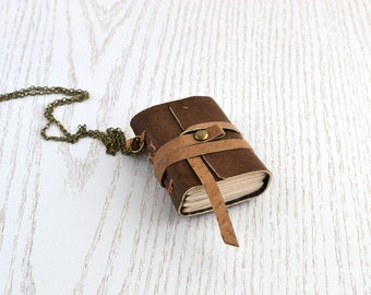 Small notebook Mini book necklace Small leather journal Brown leather book Miniature journal Small leather notebook Tiny notebook pendant
