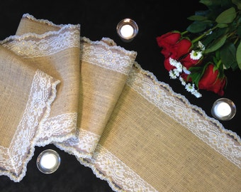 """Burlap Lace Table Runner, WHITE/GOLD Lace - Rustic Wedding Table Runner - 12"""" Width; Lace on ALL Edges - Country Home Decor, Farmhouse Decor"""