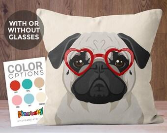 Pug Pillow | Stuffed Dog Pillow | Girlfriend Gift | Pet Pillow | Wife Gift | Dog Accent Pillow | Gifts Under 25 | Dog Art | Pug Owner Gift