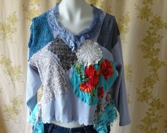 Semi-Cropped Upcycled Boho Romantic Top Festive Fun Unique OOAK Wearable Art Statement Piece by OlliesRomanceDesigns