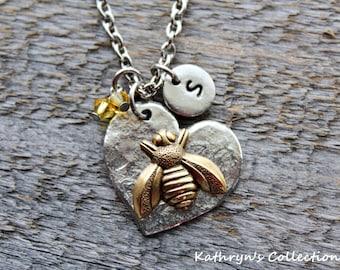 Bee Necklace, Bee Jewelry, Bee Mine, Bee You, Insect Jewelry, Queen Bee, Bumblebee, Honey bee