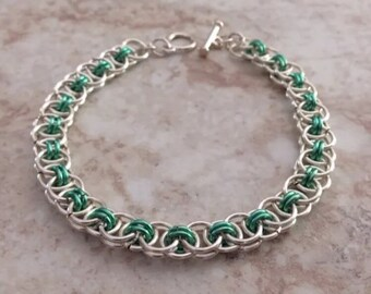 Chainmaille Celtic Line Bracelet-silver plate & mint