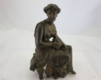 Victorian Sculpture - Pandora Holding Box Cast Spelter Vintage Home Decor Greek Mythology Pandora's Box