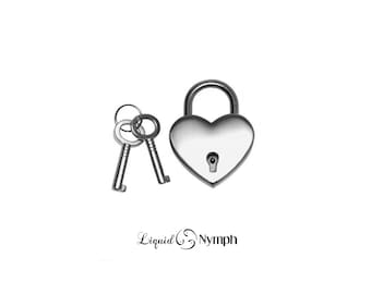 SILVER Heart Lock for BDSM Collar Lock Bondage Cuffs Slave to Love Functional - Locking Pendant Discreet Day Collar Gift For your Love DDLG