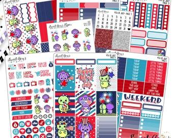 Fourth of July Planner Sticker Kit - Dinosaur Planner Kit - Patriotic Planner Kit - Full Kit - Mini Kit - A La Carte - Weekly Sticker Kit