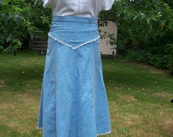 Chambray and Lace 8 Gore Skirt Size Small Price Reduced