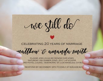 We Still Do Invitations - Vow Renewal Invitation Template - Editable Template -  DIY Wedding - Renew Vow - Downloadable wedding #WDH8WS268