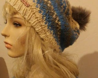 Big Sky Slouchy Knit Beanie / Blue, gray, linen / Knitted Hat with pom / Slouchie Ear Warmer /