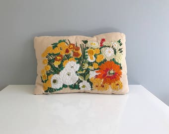 Vintage Crewel Floral Throw Pillow