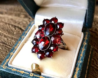 Antique Victorian Gold bohemian garnet cluster ring