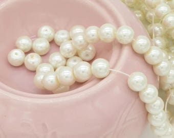 Pearl Beads Glass Pearl Beads- 8mm Cultured Off Round Pearls-Ivory Pearls-Ivory White Pearl Beads Ivory Pearl Bead Strand