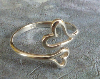 Double Heart Sterling Silver Ring ~ Adjustable ring