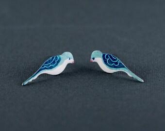 Artisan Earrings, Bird Stud Earrings, Steel Handpainted Earrings, Post Earrings, Gift for Her, Post Earrings, Dainty Earrings, Bird Jewelry
