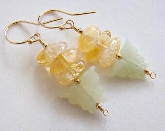 Morning Dance Earrings, Carved Green Gemstone Butterfly Earrings, Serpentine Butterfly Drop Earrings, Citrine Gold Earrings