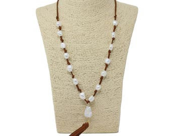 Lovely bead Handmade Suede Necklace with a Suede Tassel and a Gold Link with Large Hole Fresh Water Pearl Beads.