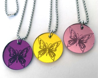 Butterfly Necklace, Acrylic Necklace, Blue, Pink, Yellow, Silver, Green, Purple Butterfly Jewelry, Butterfly Pendant, Valentines Day Gift