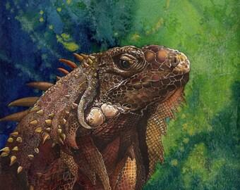 Iguana Painting - Mounted print of original guache/ink/watercolour painting