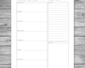 Printable Minimalist Weekly Planner, Weekly Schedule, Weekly Agenda, Planner Template, Planner Download, To Do List, A4, 8.5 x 11