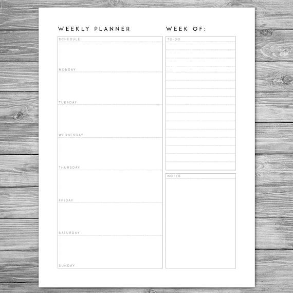 Printable Minimalist Weekly Planner Weekly Schedule Weekly