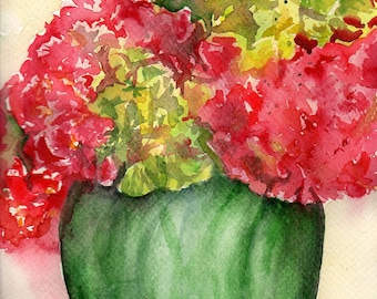 Hydrangeas Watercolors Paintings Original, Red,  Green hydrangea flowers original painting, 9 x 12, hydrangea art, hydrangea decor floral