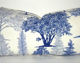 Richloom Blue Tree Pillow Cover Decorative Pillow Throw Pillow Blue Evergreen Lumbar 12x20