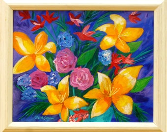 Framed painting, lily painting, flower painting, floral art, bright bold art, orange & purple painting, whimsical painting, colorful art