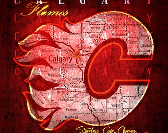 Calgary Flames Map Print - 1989 Stanley Cup Champs - Wedding, Graduation, Birthday, Anniversary, Father's Day Gift - Unframed Print