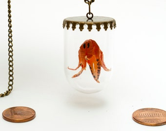 Pendant origami paper orange octopus in small glass globe -MADE TO ORDER