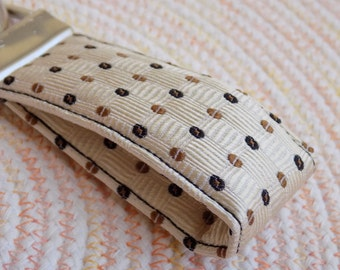 Brown Upcycled Silk Necktie Mini Key Fob. Gifts for Him Under 5 Stocking Stuffer Handmade Keychain Teen Teacher Coworker Ring Chain Keys
