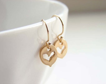 Small Organic Heart Disc Earrings. Vermeil Coin Charm. Simple Modern Everyday Jewelry by PetitBlue