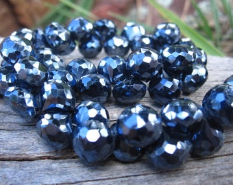 Black Spinel beads AAA onion shaped faceted briolettes 3 3/4 inch strand