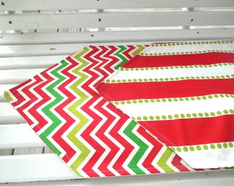 CLEARANCE Reversible Table Runner Christmas Dining Table Decor Holiday Red Green Chevron Stripe Polka Dot