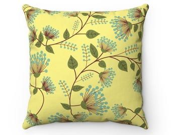 Flower Garden Pillow Cover | Floral Pillow Cover | Spring Decor | Yellow Green Blue | Decorative Pillow | Throw Pillow  Cover