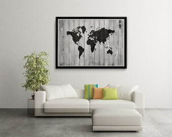 World map art etsy quick view world map gumiabroncs Image collections