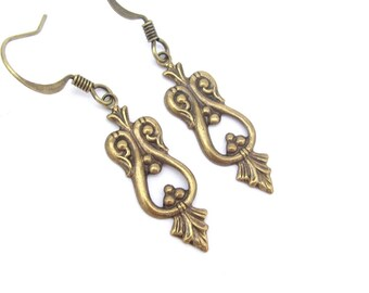 Art Deco Earrings, Boho Bohemian Dainty dangle drop Steampunk wedding bridal Jewelry