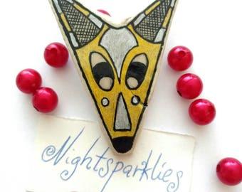 polymer clay brooch, tribal ethnic brooch, wolf brooch, handmade art brooch, clay art brooch, glossy brooch, handmade wearable art jewelry