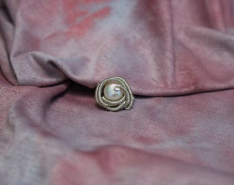 Freshwater Pearl Silver Wire Wrapped Ring