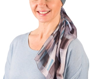 Chloe - Jersey Cotton Hat with Chiffon Scarf for Cancer, Chemo and Hair Loss