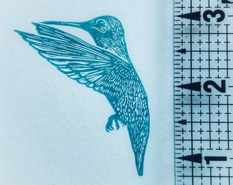 One of a kind, hand carved, rubber stamp, hummingbird