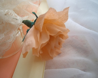 Peach Rose Realistic Paper Flower For Your DiY Wedding Bouquet Keepsake Gift Cake Decor Supply Thank You Favor Five Inches By HandcraftUSA
