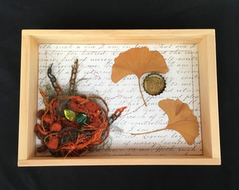 Handmade Assemblage, bird nest box, OOAK, wood shadowbox collage, housewarming gift, bird decor, bird art, mixed media assemblage