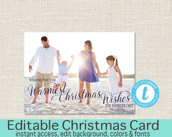 Christmas Card, Christmas card, Photo Christmas card, Holiday Card, Printable Christmas card, Warmest Wishes, Editable, Instant Download