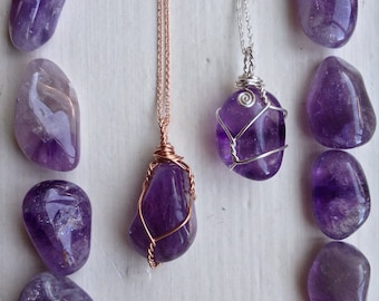 Wire Wrap Amethyst Necklace Silver, Gold Fill, Rose Gold Fill - Amethyst Necklace for Men, For Her - Silver Amethyst Necklace - Boho Hippie