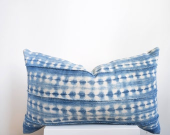 Authentic Vintage African Mud Cloth Pillow Cover, Light Indigo with White Detail Lumbar