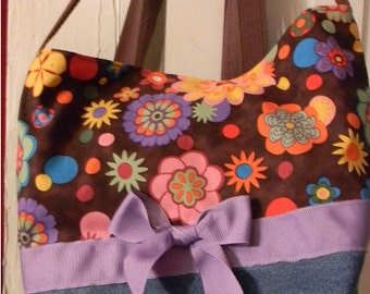 Retro Floral Purple Jeans Funky Mod 60's Swirl BAG Purse Tote or Diaperbag