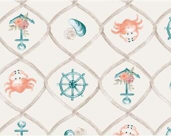 Nautical in Cream Organic Cotton Jersey