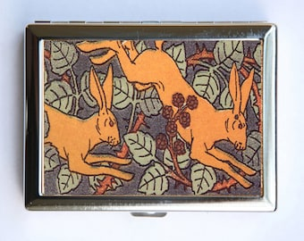 Art Nouveau Rabbits Cigarette Case Wallet Business Card Holder