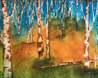 Aspen Tree Painting Birch Tree Painting Colorado Art Watercolor Painting ORIGINAL fine art Bedroom Wall Art Dining Room Decor Bedroom Art